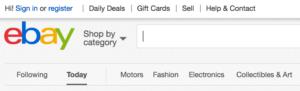eBay Sign In and Register links.