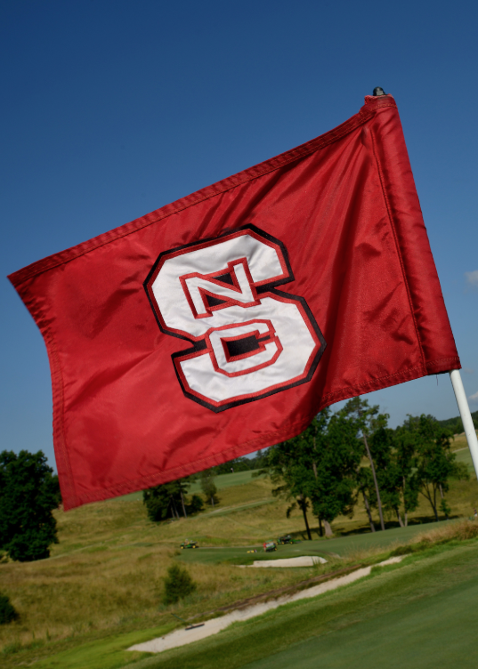 A green flag with an NC State logo.